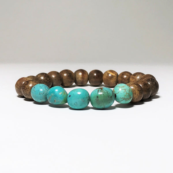 Turquoise and Agar Wood Beaded Bracelet