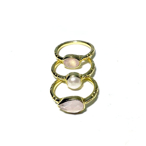 Rose Quartz and Pearl Ring Set