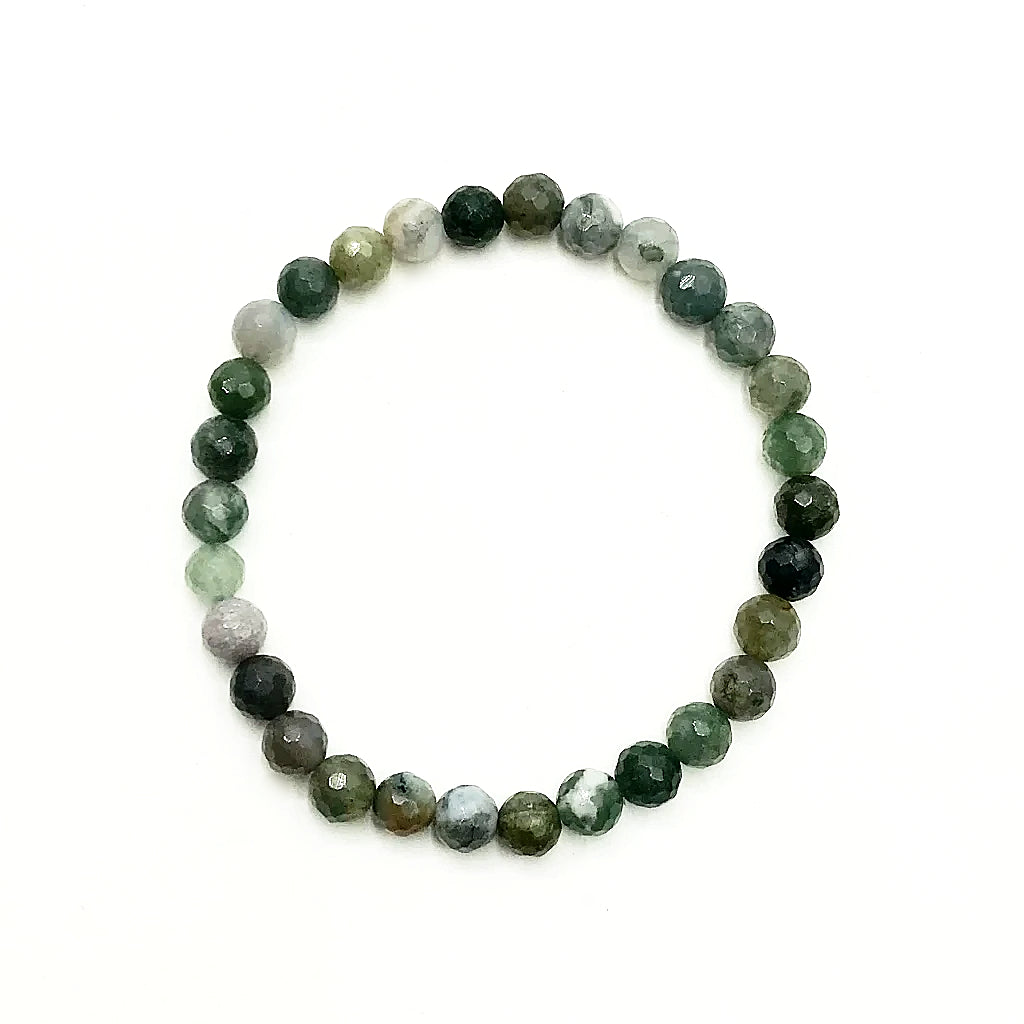 Indian Agate Faceted Beaded Bracelet