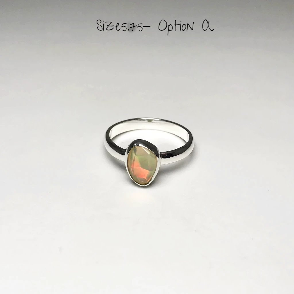 Ethiopian Fire Opal Ring - Freeform Faceted Style