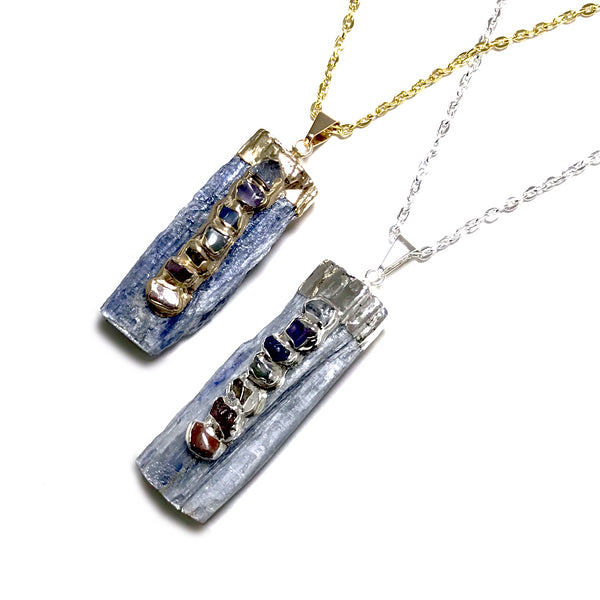 Kyanite with Chakra Gemstones Necklace