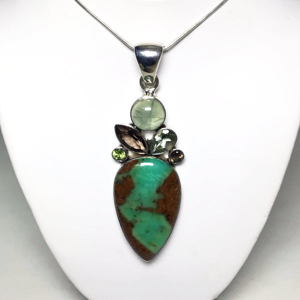 Chrysoprase, Prehnite, Smoky Quartz, Green Amethyst and Peridot Pendant