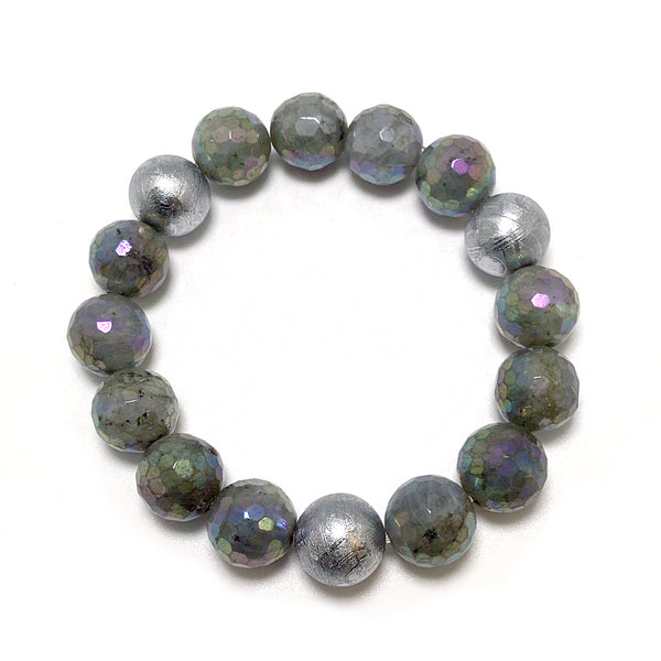 Titanium Plated Faceted Labradorite with Muonionalusta Meteorite Beaded Bracelet