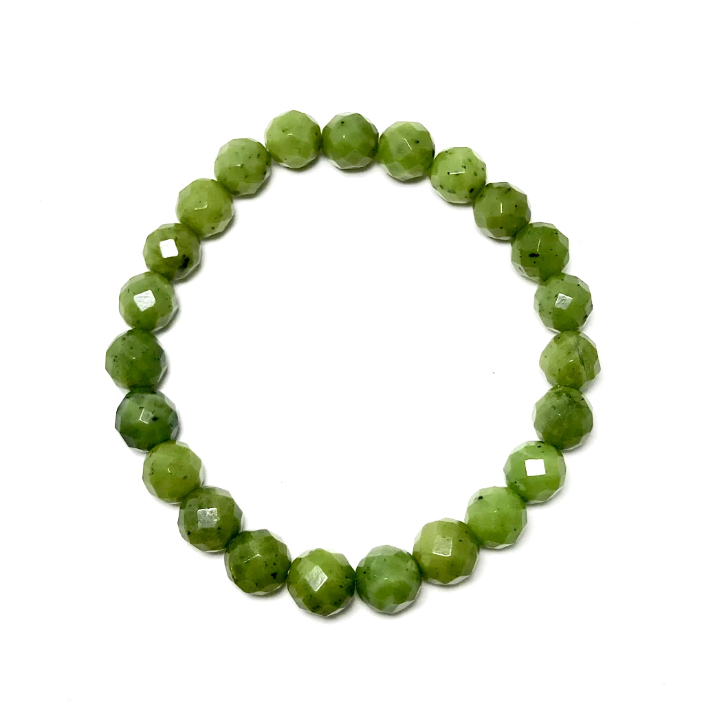 Canadian Jade Faceted Beaded Bracelet - High Quality