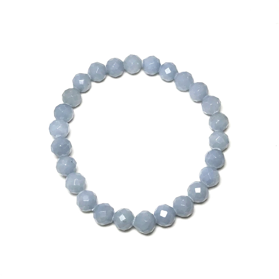 Angelite Faceted Beaded Bracelet - High Quality