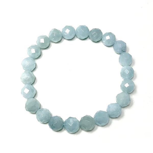 Aquamarine Faceted Beaded Bracelet - High Quality