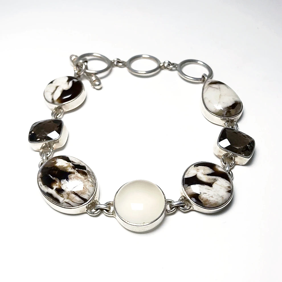 Petrified Wood with Chalcedony and Smoky Quartz Sterling Silver Bracelet