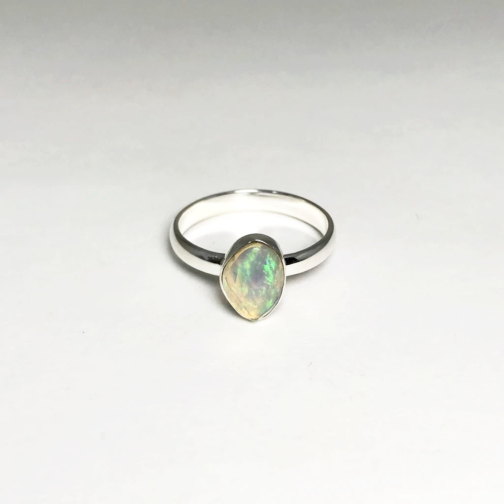 Ethiopian Fire Opal Ring - Faceted Style