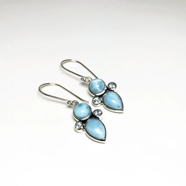 Larimar and Blue Topaz Dangle Earrings