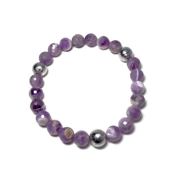 Faceted Chevron Amethyst with Muonionalusta Meteorite Beaded Bracelet - 8mm