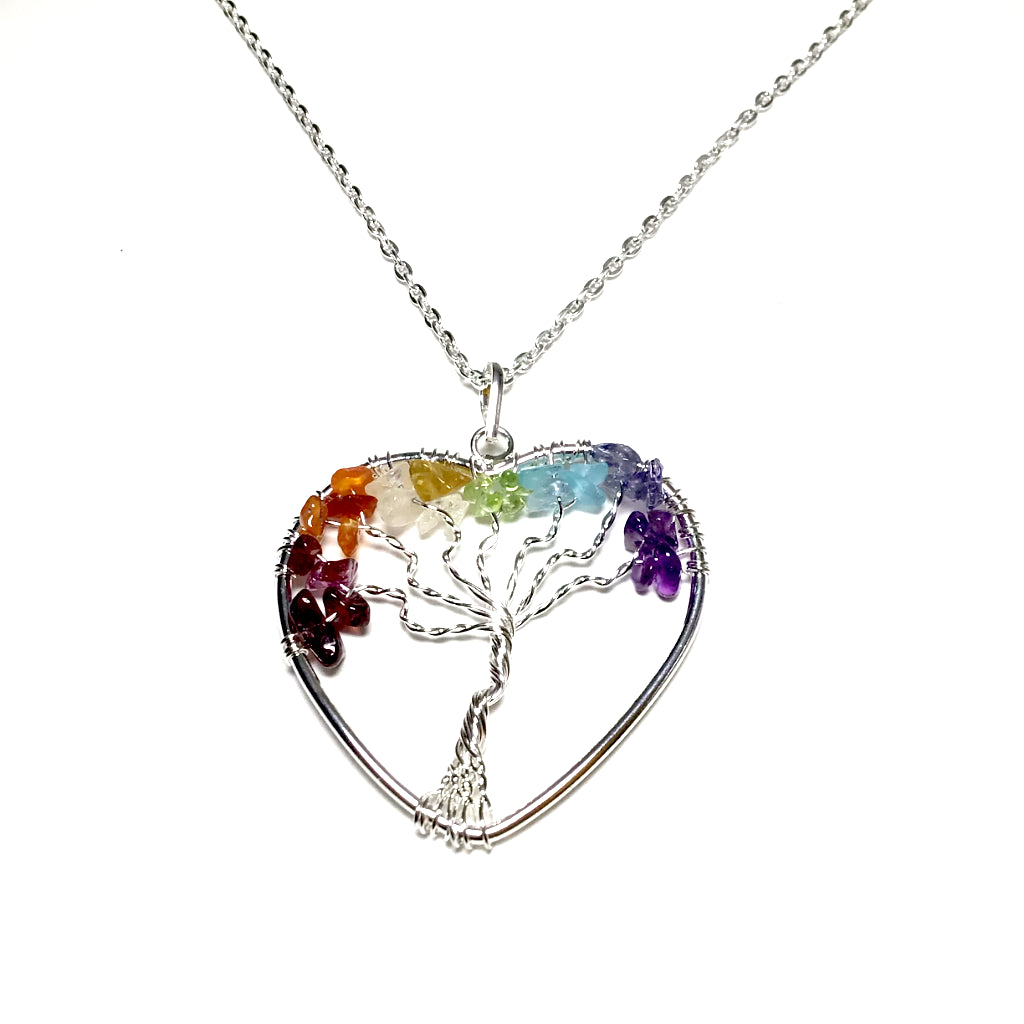 Tree of Life Heart Shaped Necklace with Chakra Beads