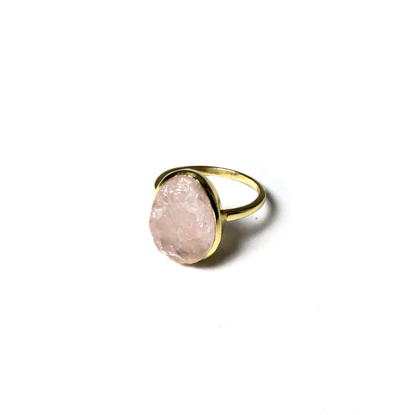 Raw Rose Quartz Ring