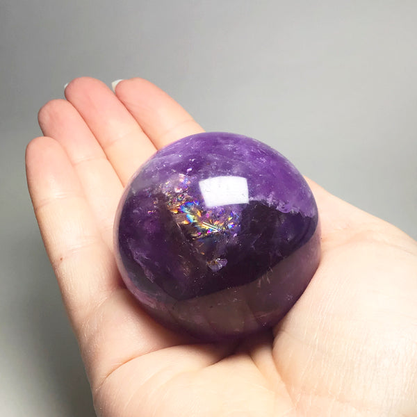 Amethyst with Smoky Quartz Sphere