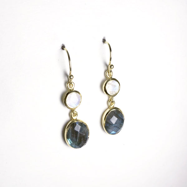 Labradorite and Moonstone Faceted Gold Finish Dangle Earrings