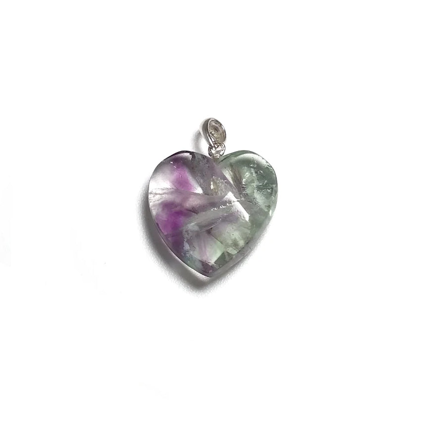 Fluorite Faceted Heart Pendant