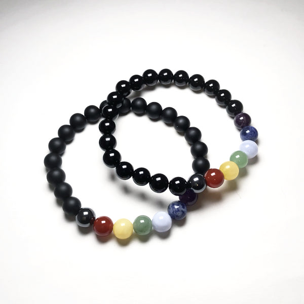 Black Onyx Beaded Bracelet with Chakra Beads
