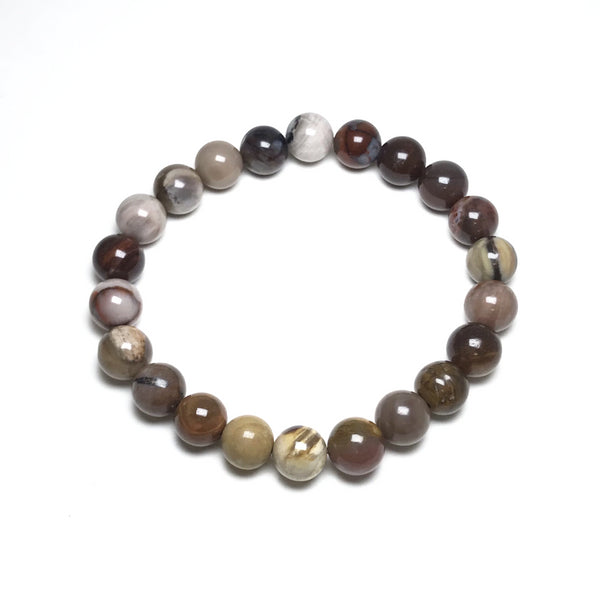 Petrified Wood - Red Araucaria Beaded Bracelet