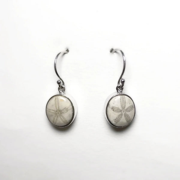 Fossil Sand Dollar Dangle Earrings