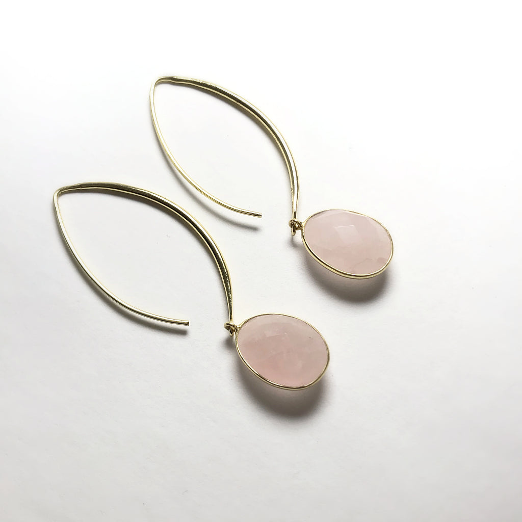 Rose Quartz Dangle Earrings with Gold Finish