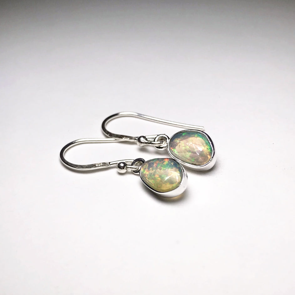 Ethiopian Fire Opal Faceted Dangle Earrings