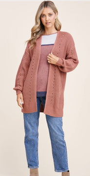 Rust Open Front Detailed Cardigan