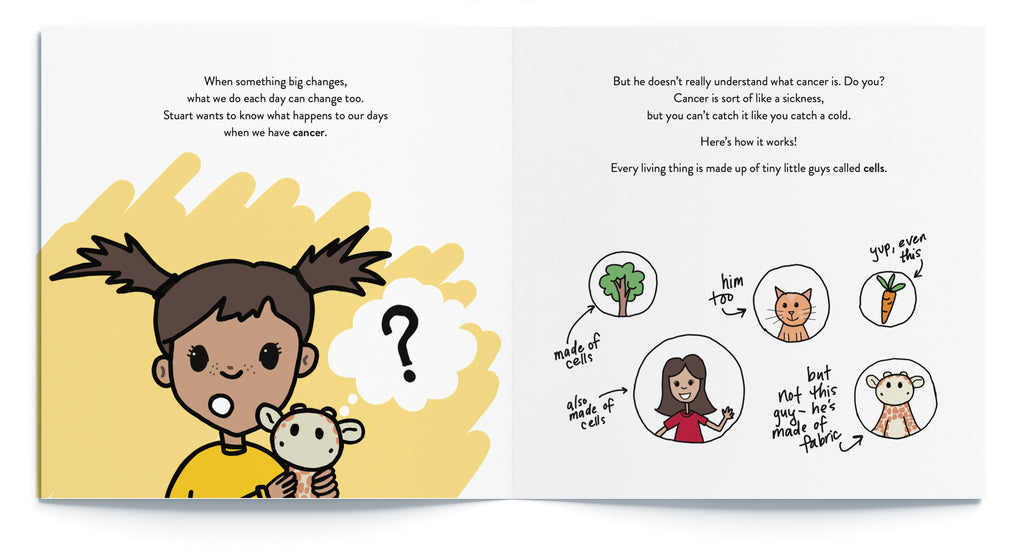 """Pages from """"What Happens When a Kid Has Cancer"""", the best book for kids with cancer by Sara Olsher"""