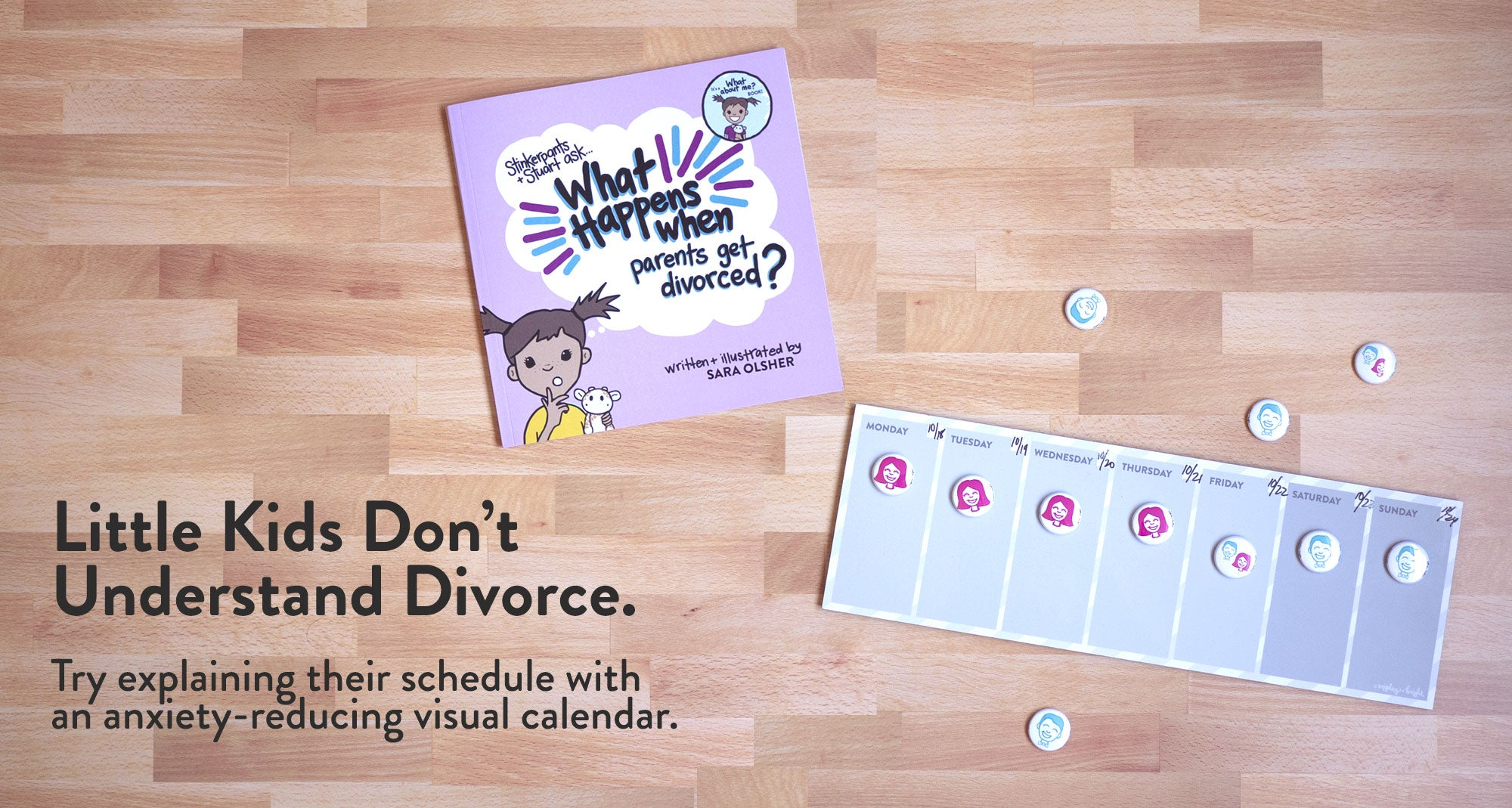 Explain divorce to kids with an anxiety-reducing visual calendar and picture book.