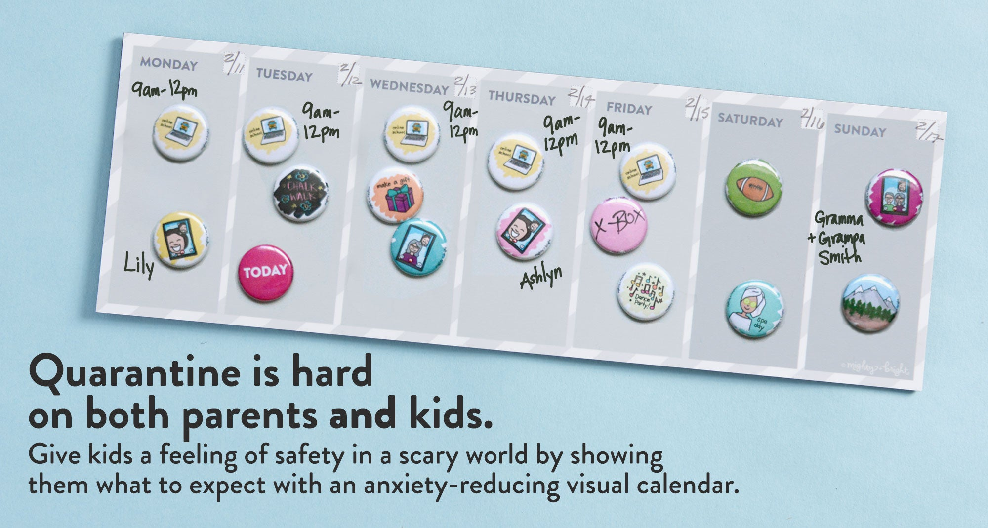 Quarantine is hard on both parents and kids. Give kids a feeling of safety in a scary world by showing  them what to expect with an anxiety-reducing visual calendar.