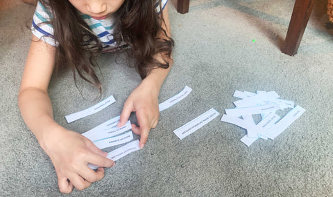 Child arranging routine options to help with consistency in following the schedule