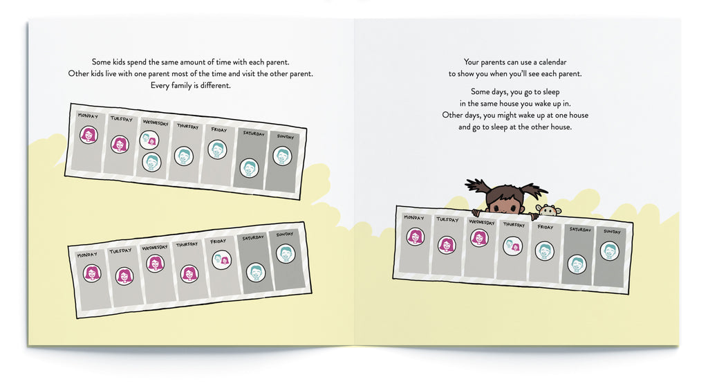 """Pages from """"What Happens When Parents Get Divorced?"""" a Kids Book by Sara Olsher"""