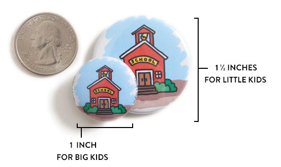 Mighty and Bright's magnets come in two sizes: 1.5 inch for little kids, and 1 inch for big kids.