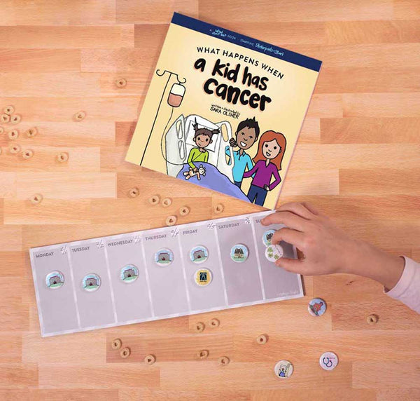 Photo of Mighty + Bright's new What Happens When a Kid Has Cancer book and complementary visual calendar