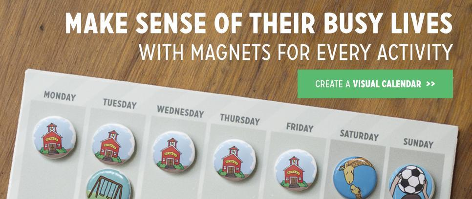 Custom magnets that look like you. Make your family's calendar extra special. Create your customized visual co-parenting calendar.