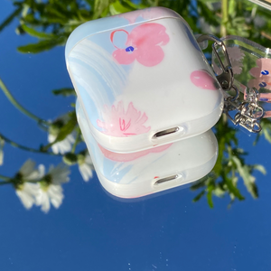 pink flower Airpods case