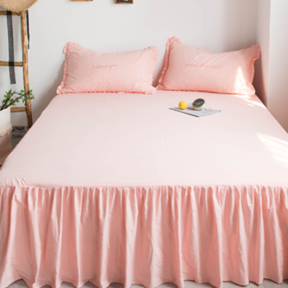 7color bed skirt & pillow sheets set