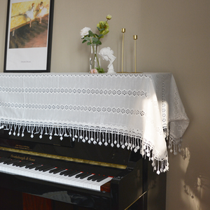 white embroidery piano cover