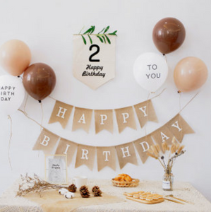 kids birthday brown balloon set