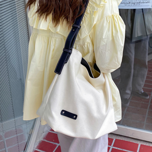 canvas 2color leather tote bag