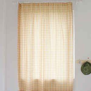 fresh orange check curtain