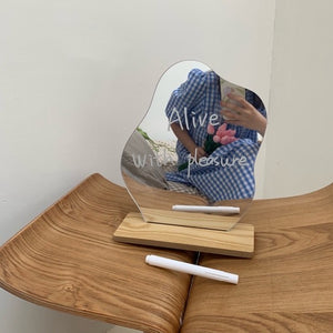wave mini stand mirror