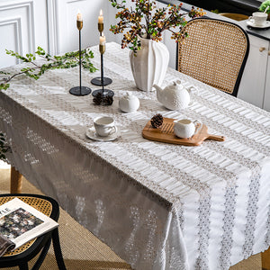 white line lace tablecloth