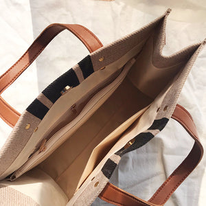 stripe simple handbag