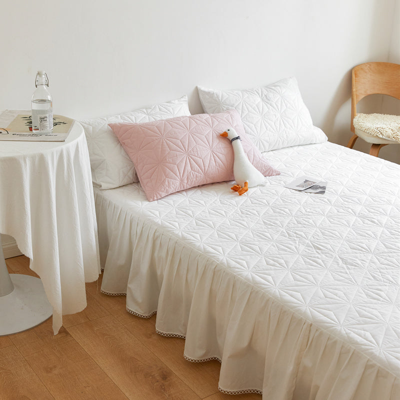 3color bed skirt & pillow sheets set