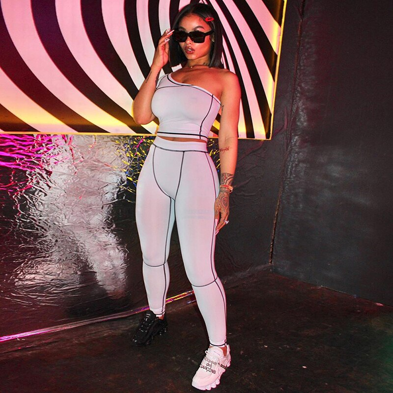 Sport Yoga Fashion Active Wear Black Fitness Tracksuits One Shoulder 2 Piece Set Women Workout Crop Top And Leggings Sets