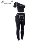 Load image into Gallery viewer, Simenual Sporty Fashion Active Wear Black Fitness Tracksuits One Shoulder 2 Piece Set Women Workout Crop Top And Leggings Sets