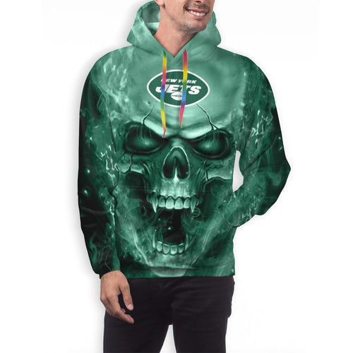 3D Skull NY Jets Hoodies For Men Pullover Sweatshirt-Heroinhere