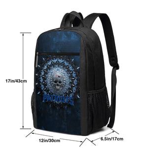 3D Skull American Football Team Patriots Travel Laptop Backpack 17 IN-Heroinhere