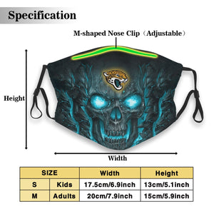 Jaguars 3D Skull Lava Anti-infective Polyester Face Mask With Filter-Heroinhere