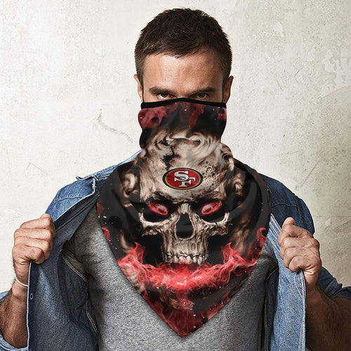 QIANOU66 3D Skull 49ers Obacle Seamless Bandana Rave Face Mask-Heroinhere