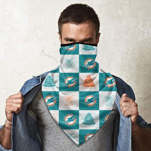 Dolphins Team Ugly Christmas Obacle Seamless Bandana Rave Face Mask-Heroinhere